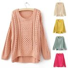 2014 New Womens Round Neck Hollow Knitted Pullover Jumper Loose Sweater Knitwear