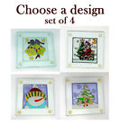 Clear Glass Christmas Coaster Set of 4 Stained Glass Effect, square