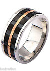 BOLD MENS INOX BLACK & ROSE GOLD SILVER STAINLESS STEEL GROOVE SPINNER BAND RING