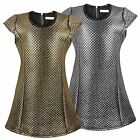 GIRLS DIAMOND QUILTED PATTERN METALLIC DRESS GOLD SILVER FITTED STYLE 3-14 YEARS