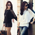 New Sexy Women Batwing Lace Long Sleeve Loose T-Shirt Blouse Top White Black UK