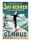 GLARUS, 1905 skiing SWISS mountains snow NEW CANVAS print of vintage poster