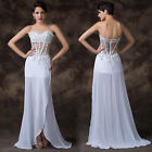 Women Sheer Beads Bling Sexy New Evening Prom Bridesmaid Formal Long Party Dress