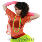 ORANGE 80S MESH TOP NEON FISHNET T-SHIRT FANCY DRESS COSTUME PUNK ROCK ROCKER