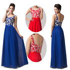 Sexy Blue/Red Long Chiffon Bridesmaid Formal Party Cocktail Evening Prom Dresses