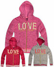 Girls Knitted Zip Hoodie Kids Cardigan Top Pink Grey Cerise New Age 4 - 12 Years