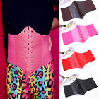 Fashion Sexy Women Waist Cincher Corset Black Wide Band Elastic Tied Waspie Belt