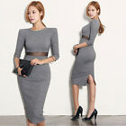 Women's Slim Slit Dress Long Sleeve Knit Mesh Splice Fall Winter Casual Clubwear