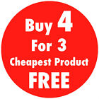 Bright Red 'Buy 4 For 3' Promotional Price Stickers Sticky Tags Labels