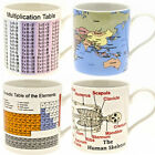 EDUCATIONAL MUG TEA COFFEE DRINK GIFT FINE CHINA WORK HOME MUGS SET NOVELTY NEW