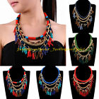 Fashion Gold Chain Multicolors Resin Beads Rope Tassel Statement Bib Necklace