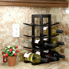 Tabletop Wine Rack Bamboo 12 Bottle Holder Wood Storage Kitchen Bar Countertop