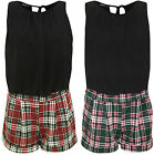 New Womens Tartan Check Print Chiffon Sleeveless Ladies Tie Up Playsuit 8 - 14