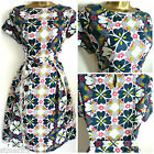 WHITE STUFF BELLA DRESS RETRO FLORAL TEA DRESS GREEN BEIGE SIZE 8 10 12 14 16 18