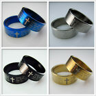NEW Unisex's Men Blue Black Gold Stainless steel Bible Pendant Rings Mixed SIZE