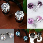 Unisex Nickel Free Silver Plated Rhinestone Crystal Earrings Ear Studs Gift Pair