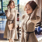 Korean Women's Winter Knit Cardigan Coat Stand Collar Long Sleeve Sweater Dress