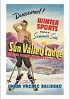 Sun Valley Lodge bare chest man WONDERFUL CANVAS print of vintage poster giclee