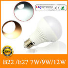 12x B22/E27 7W/9W/12W Bayonet Screw Thread Golf LED Light Bulbs Lamps Ball Globe