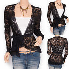 Fabulous Black Lace Floral Long Sleeves Cardigan Belt Top Jacket