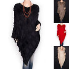 Stunning Faux Fur V-Neck Angled Hem Fringes Poncho Top
