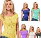 New Women Floral Lace Sexy Top Short Sleeve Blouse Crew Neck T-shirt M/L  HOAU