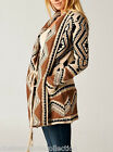 CHELSEA VERDE Toffee Winter-Weight Tribal Cozy Sweater/Cardigan 722 S-M-L/XL