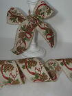 Tweed Pine Cones & Holly Natural Christmas Hessian - Luxury Wire Edge Ribbon LOW