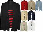 New Womens Plus Size Striped Insert Jumper Top Ladies Knitted Cardigan 14 - 20