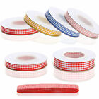 New 10 metre reel Gingham Ribbon 10mm / 15mm / 25mm widths UK