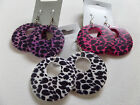RETRO 60s70s80s PINK PURPLE WHITE BLACK ANIMAL PRINT HOOP DANGLY EARRINGS new