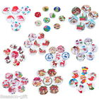 100PCs Wooden Buttons Christmas Pattern Fit Sewing And Scrapbook 20mm