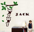 Monkey Hanging on a Branch Vine FREE personalise name Wall Sticker Kids/Nursery