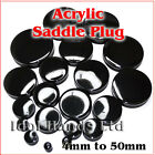 4mm to 50mm Solid Black Acrylic Saddle Plug / Tunnel