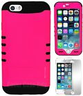 """Neon Bright Hot Pink with Black Silicone Cover Case for iPhone 6 4.7"""" KoolKase"""