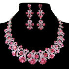 New Luxury Crystal Rhinestone Evening Party Wedding Earring Necklace Jewelry Set