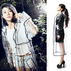 Quality Womens Girls Fashion Rain Coat Festival Transparent Clear Runway Style