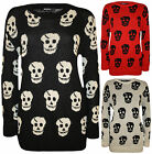 New Plus Size Womens Skull Pattern Long Sleeve Top Ladies Knitted Jumper 14 - 18