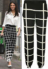 New Womens Celeb Black White Check Print Baggy Ladies Harem Pants Trousers 8-14