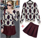 1Set Europ Fashion Autumn Woman Knitted Jumper Pullover Round Neck Sweater Skirt