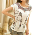 New Women Girl European Fashion Elephant Print Cotton Short Sleeve T-Shirt Tops