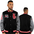 YLD Melton Varsity Faux Leather & Wool College Baseball Jacket Charcoal Winter
