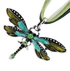 Vintage Fashion Dragonfly Pendant Necklace Chain Crystal Rhinestone Silver