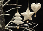 Vintage Chic Christmas Tree Decorations Metal Shabby White Gold Bell Star Heart