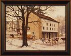 """""""WINTER REVERENCE"""" by Bonnie Mohr 15x19 FRAMED PRINT Cattle Cow Barn Winter Snow"""