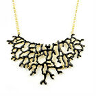 New Fashion Aolly Enameled Coral/Branch Choker Bib Necklace Orange/White/Black