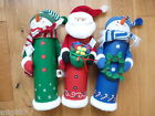 Christmas Wine Bottle Gift Box Green Snowman Blue Snowman or Santa  *New*