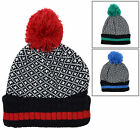Mens Fairisle Style Cozy Hat With Matching Pom Pom Winter Warmer Accessory New