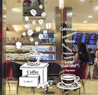 Coffee Cafe Shop Window Stickers Vinyl Wall Decal Business Sign Decor Removable