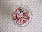 PACK 6 VINTAGE 1940's STYLE CREAM, WHITE, PINK 22MM FLOWER PLASTIC SHANK BUTTONS